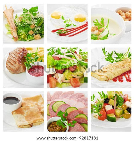 soup, meat, salad and other food
