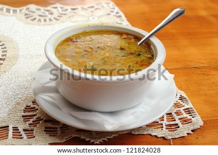 Soup of Sauerkraut White Cabbage - stock photo