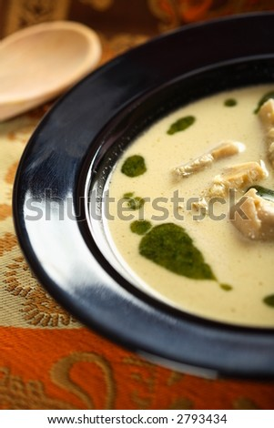 Soup with coriander and artichoke