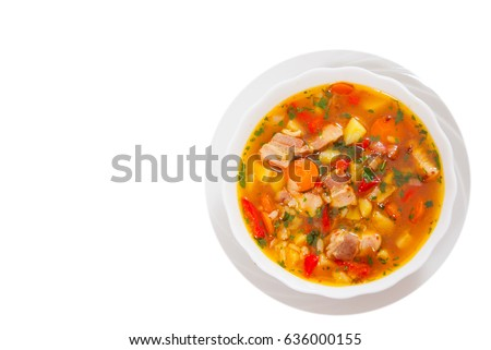 soup with meat, rice and vegetable. top view. isolated on white #636000155