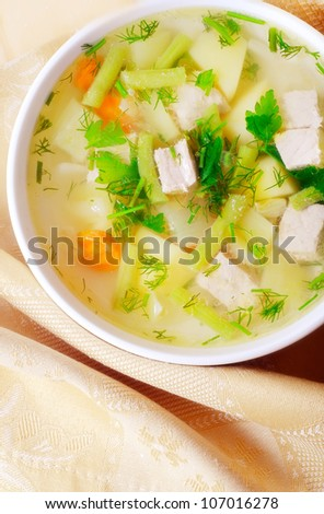 soup with potato and meat