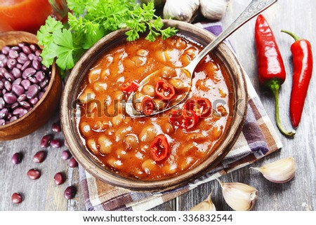 Soup with red bean and chili pepper #336832544