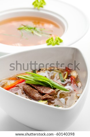 Soup with Rice Noodles, Veal and Vegetables