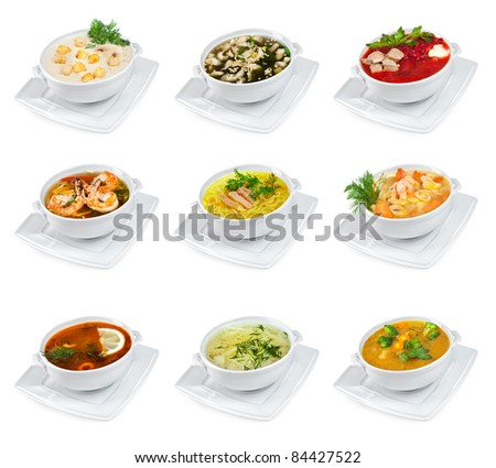 soups on a white background isolated