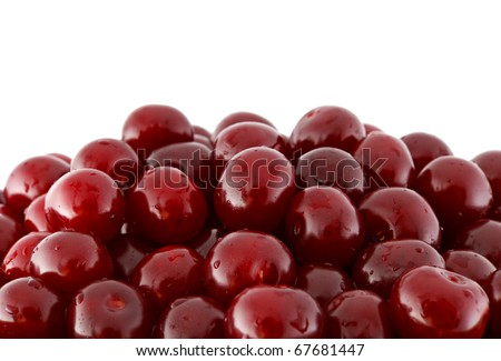 Sour Cherry crop isolated on white