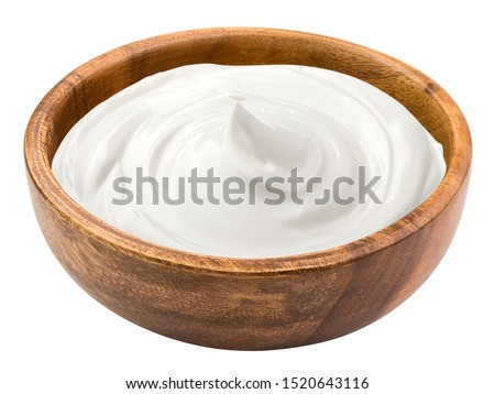 sour cream in wooden bowl, mayonnaise, yogurt, isolated on white background, clipping path, full depth of field Photo stock ©