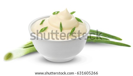 Sour cream with onion isolated on white background