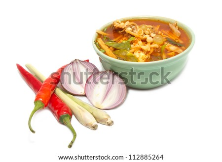 sour fish soup made of tamarind paste on white background