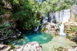source of the Auso river  in Cilento and Vallo di Diano National Park. Sant'Angelo a Fasanella, Campania, Italy
