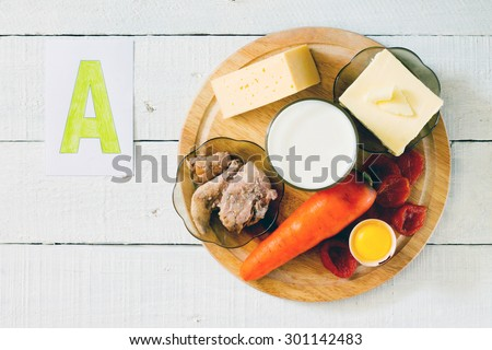 Source of vitamin A: carrots, butter, cheese, milk, cod liver oil, apricots, egg yolk