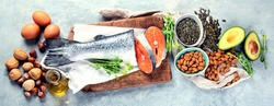 Sources of omega-3 acids. Foods high in healthy fat, vitamin and antioxidants. Top view. Panorama, banner