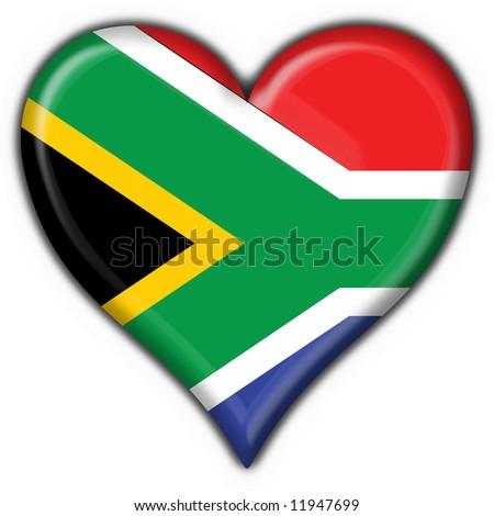 south africa button flag heart shape
