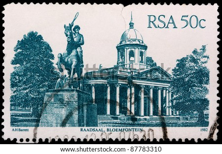 SOUTH AFRICA - CIRCA 1982: A 50-cent stamp printed in the Republic of South Africa shows the old Raadsaal in Bloemfontein, circa 1982