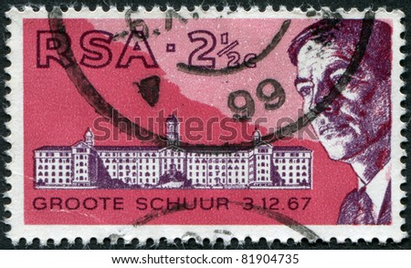 SOUTH AFRICA - CIRCA 1969: A stamp printed in South Africa (RSA), is dedicated to the 47 th Medical Congress and the first heart transplant by Professor, Dr. Christiaan Barnard, circa 1969