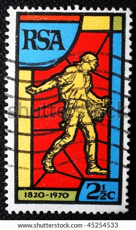 SOUTH AFRICA - CIRCA 1970: A stamp printed in South Africa shows image of a stained glass window, circa 1970