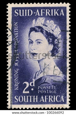 SOUTH AFRICA - CIRCA 1953: A stamp Printed in South Africa shows Queen Elizabeth, to commemorate her coronation 1953, circa 1953