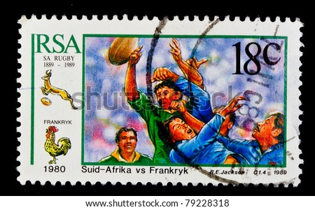 SOUTH AFRICA - CIRCA 1989: A stamp printed in South Africa shows rugby footballs, circa 1989