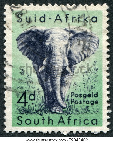 SOUTH AFRICA-CIRCA 1954: A stamp printed in the South Africa, depicts animals from Kruger National Park, the African Elephant, circa 1954