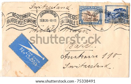 "SOUTH AFRICA - CIRCA 1939: A vintage used envelope (campaign poster) and stamps with inscription ""South Africa. Johannesburg"", series, circa 1939"