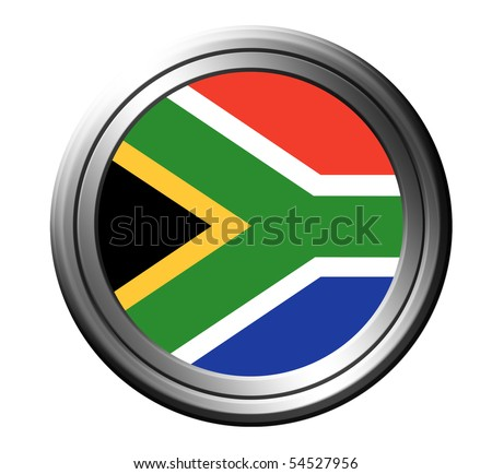 South africa flag button over white background