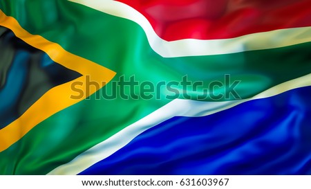 South Africa flag. 3D Waving flag design. Red, white, green and blue flag. South African flag colors background images. The national flags. National symbol of South Africa for background.African sign