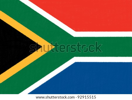 South Africa flag drawing by pastel on charcoal paper