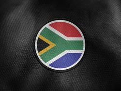 South Africa flag isolated on black with clipping path. flag symbols of South Africa. South Africa flag frame with empty space for your text.