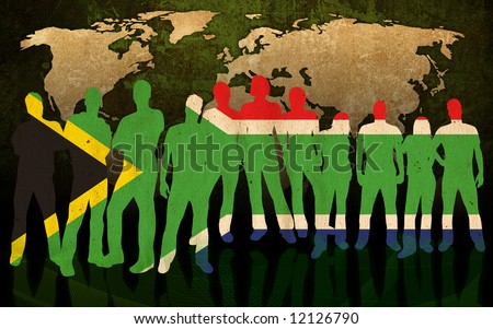 south africa - flag style of people silhouettes and world map background