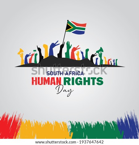South Africa Human Rights Day. March 21. Suitable for greeting card, poster and banner.