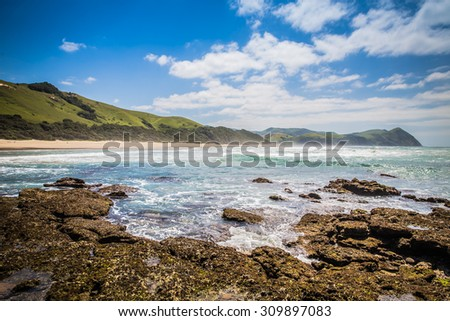 South Africa - January 22 2015: The beauty of the Umngazi River mouth #309897083