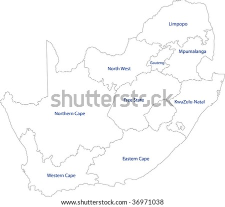 map of south africa provinces. stock photo : South Africa map