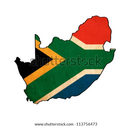 South Africa map on South Africa flag drawing ,grunge and retro flag series