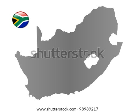 South Africa map with a magnet in national colors