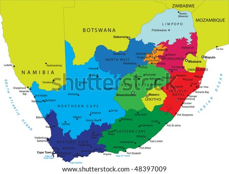 South Africa political map with provincial boundaries