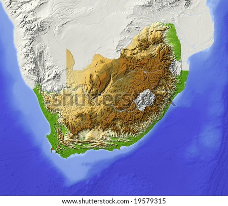 South Africa. Shaded relief map with major urban areas. Surrounding territory greyed out. Colored according to elevation. Includes clip path for the state area. Data source: NASA