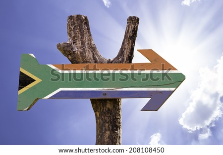 South Africa wooden sign on a beautiful day