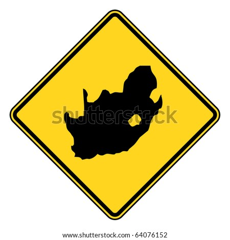 South Africa Yellow Diamond Shaped Road Sign Isolated On ...