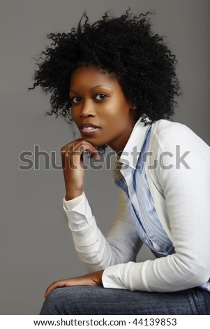 South African business woman with long curly afro