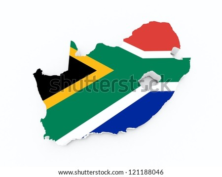 south african flag on 3d map