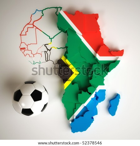 South African flag on map of Africa with national borders