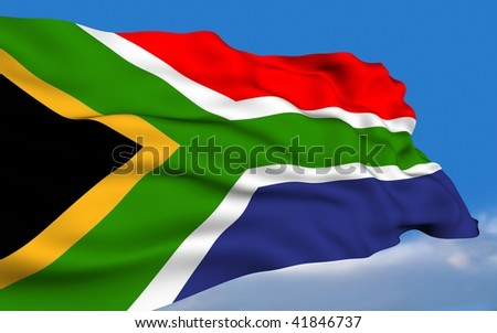 South African Flag waving on wind.