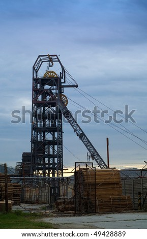 South African gold mine industrial mining headgear