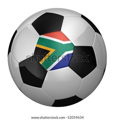 South African Soccer Ball isolated over white background