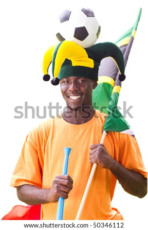 south african soccer fan, isolated on white