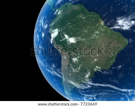 South America as seen from space with cloud formations - stock photo