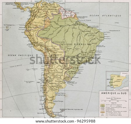 South America at the end of 19th century. By Paul Vidal de Lablache, Atlas Classique, Librerie Colin, Paris