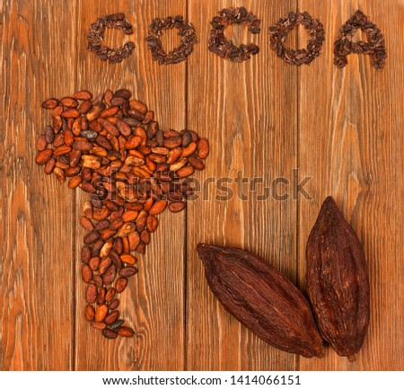 "South America continent made of cocoa beans, the word ""cocoa"" made of cacao nibs with cocoa pods on wooden background. Top view."