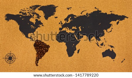 South America continent made of coffee beans on world map. Top view.