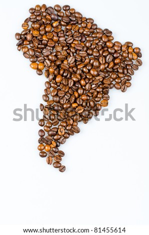 South America continent made with coffee beans