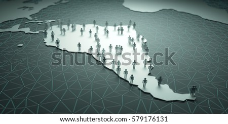 South America. 3D illustration of people on the map, representing the country's demography.